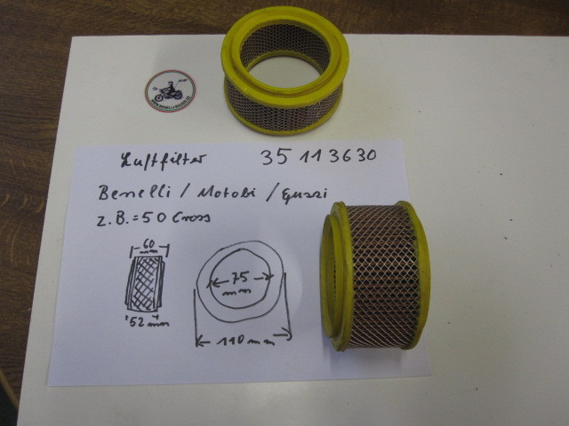 Air filter Benelli, Motobi, Moto Guzzi, 35113630, 2520130799